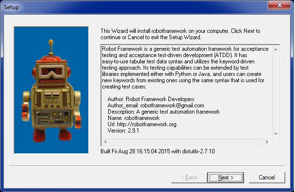 Installing Robot Framework