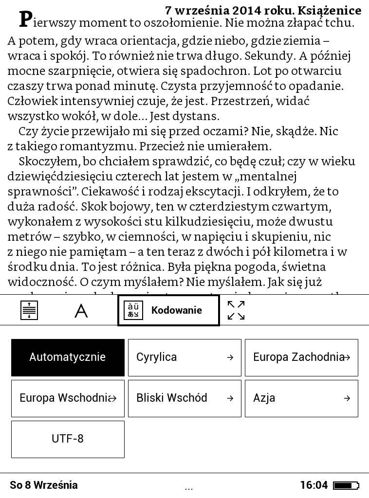 PocketBook Basic Lux 2 – ustawienia kodowania znaków