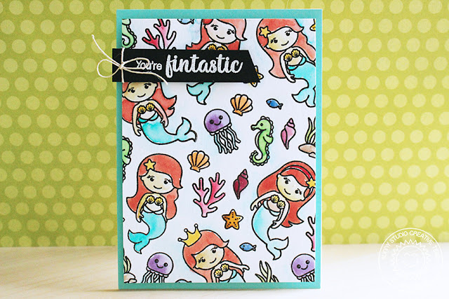 Sunny Studio Stamps: Magical Mermaids You're Fintastic Card Eloise Blue