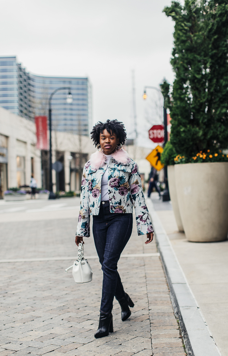 Blogger wearing Floral Jacket