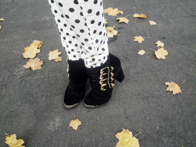 polka dot, style latley, necklace, statement necklace polka dot pants, windsorstyle, windsor store, windsor, pink sweater, ankle booties, ankle boots, booties, cute, bag, long hair, polka dot pants, dots,