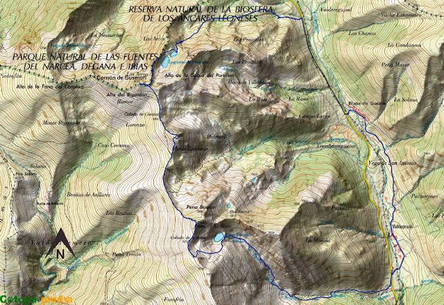 Mapa de la ruta señalizada al Cornón de Busmori y El Miro pasando por la Lagunas de Fasgueo y el Pozo Cheiroso.