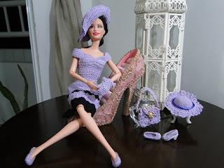 Barbie crochê conjunto lilás, vestido, sapatos, luvas, chapéu e bolsa