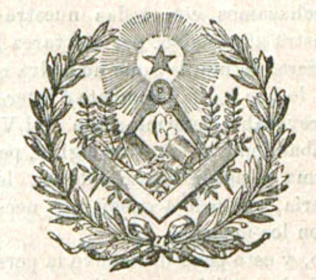 Grabado con símbolos masónicos incluido en la cabecera de la revista El Simbolismo, 20-8-1888
