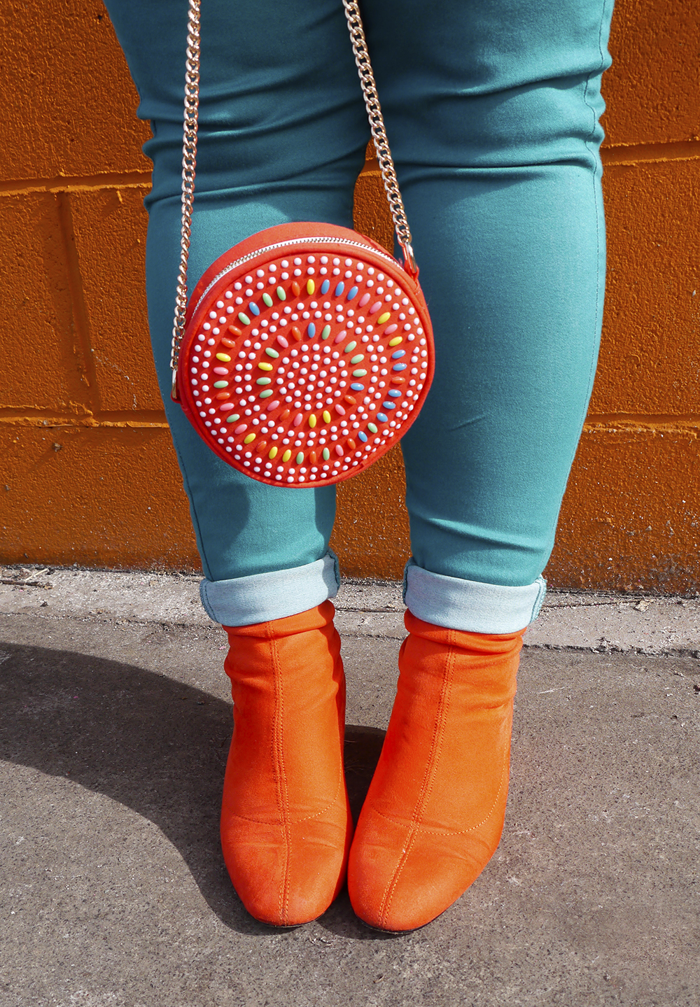 Colourful Play Purse beaded bag matched with bright Topshop boots