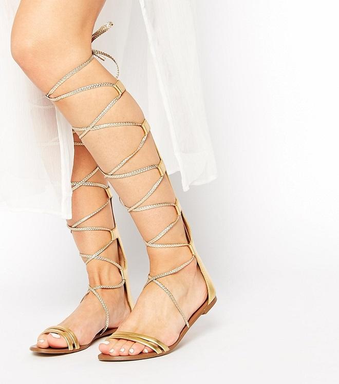 Pictured Above  ALDO Umarelle Gold Knee Gladiator Flat Tie Sandals