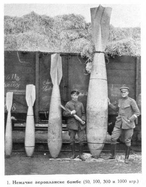 German aeroplane bombs (50, 100, 300 and 1000 kgr.)