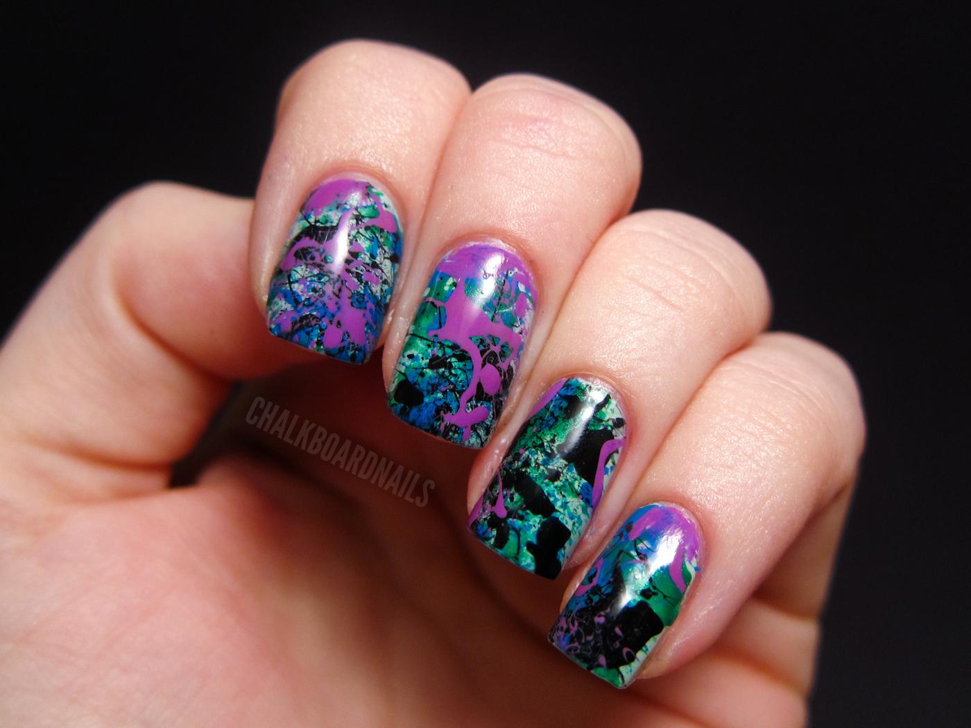 Cool Toned Splatter Chalkboard Nails Phoenix Arizona Nail Artist