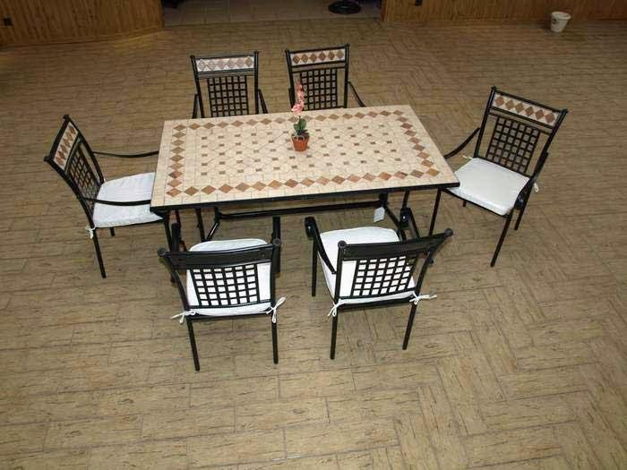 conjunto mesa y sillas forja, muebles terraza