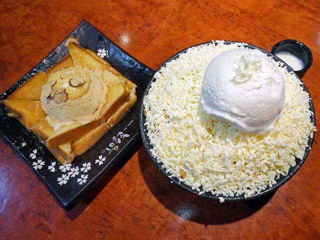 Korean butter toast and cheese bingsu