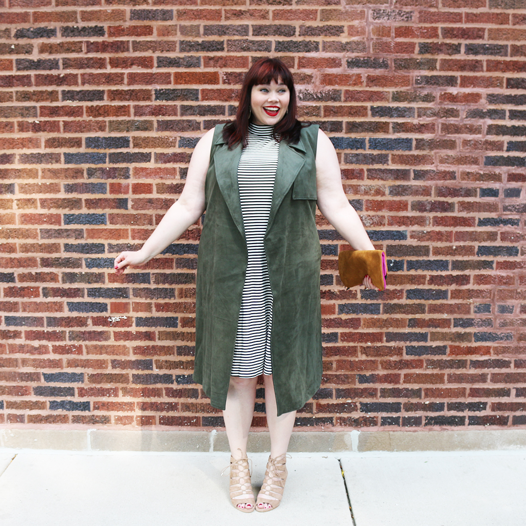 Chicago Plus Size Blogger Amber from Style Plus Curves in a Target Who What Wear Plus Size Suede Vest, olive