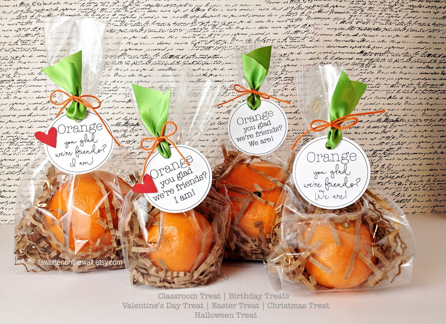 Birthday Party or Classroom Treat-Orange You Glad We're Friends?
