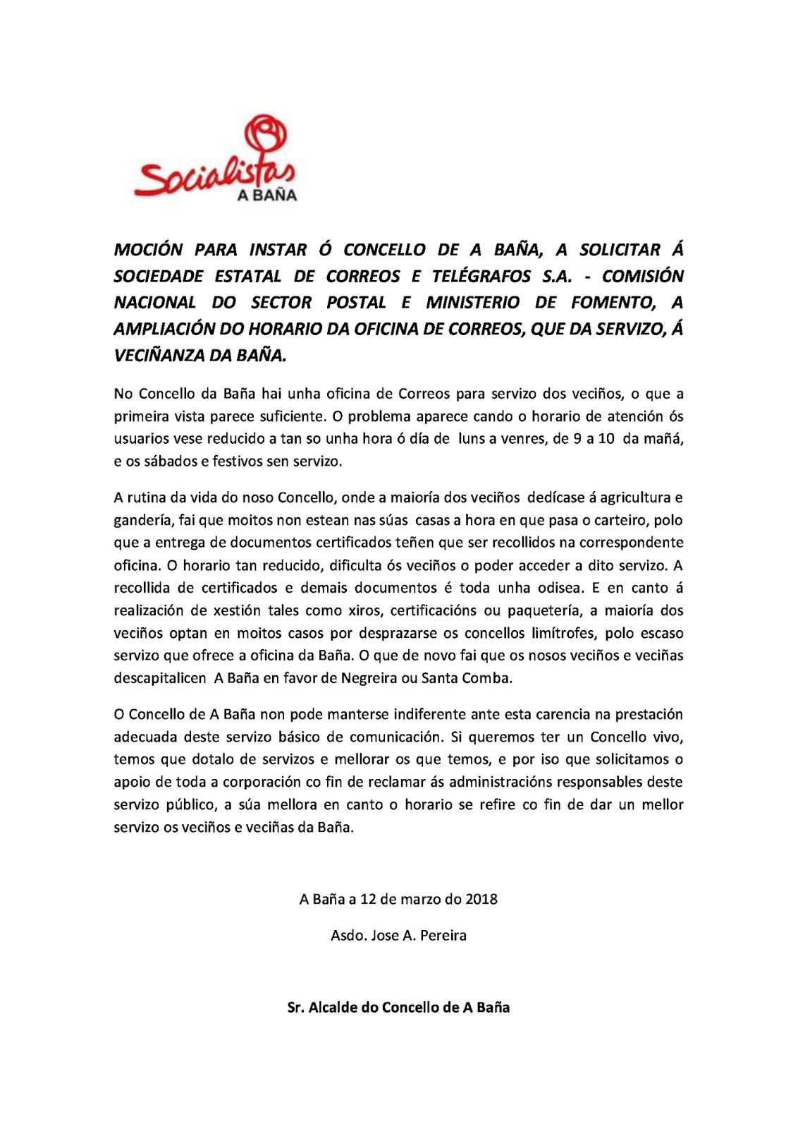 Socialistas de a ba a a coru a nova moci n presentada for Horario de oficina correos