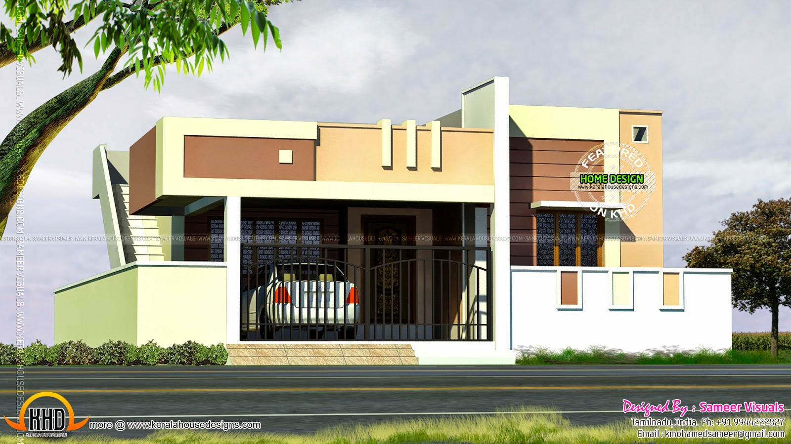 Small tamilnadu style house kerala home design and floor for Single floor house designs tamilnadu