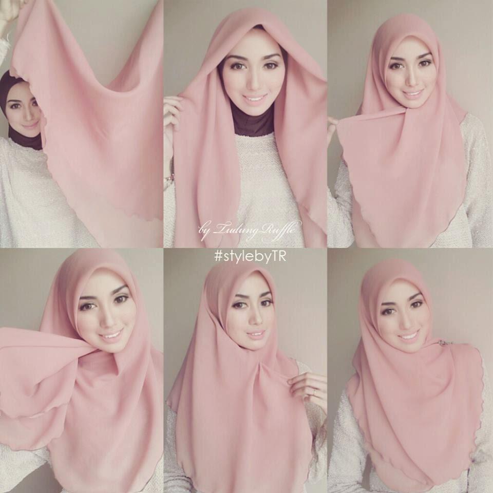 cara cara pakai tudung bawal shawl selendang yang cantik bawal