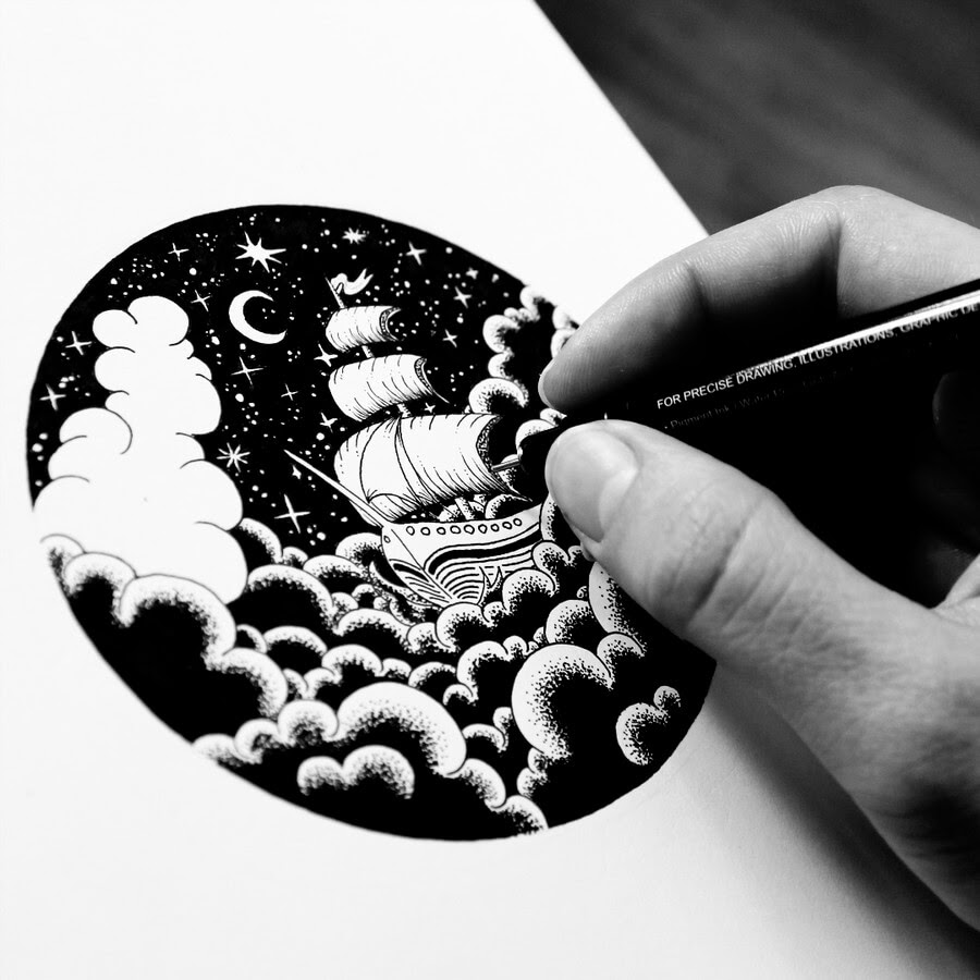 08-Ship-in-the-Clouds-Tímea-Tellér-Ink-Black-and-White-Illustrations-www-designstack-co