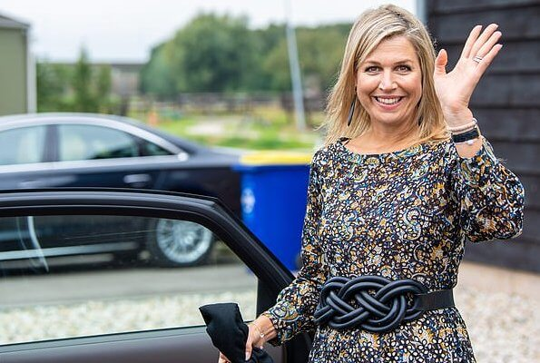 Queen Maxima wore a new embroidered floral print openwork long dress from Antik Batik. Antik Batik Khero embroidered openwork long dress