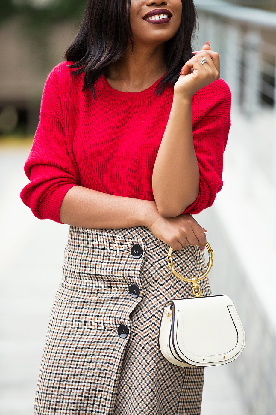 red sweater, chloe nile bag, www.jadore-fashion.com