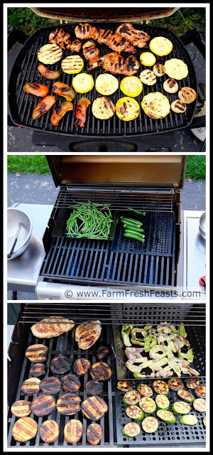 Grilled peppers, grilled summer squash, grilled green beans and grilled eggplant in a collage.
