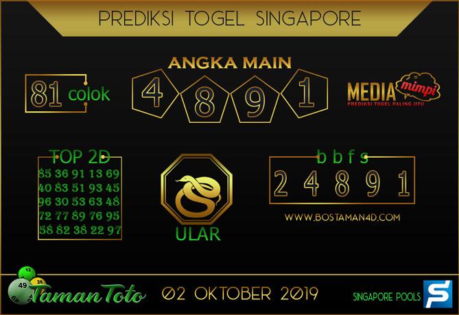 Prediksi Togel SINGAPORE TAMAN TOTO 02 OKTOBER 2019