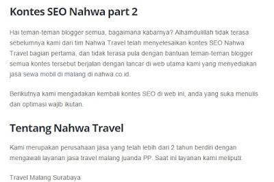 Kontes SEO Nahwa Travel 2