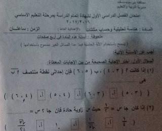 ورقة امتحان الهندسة محافظة بنى سويف الثالث الاعدادى 2017 الترم الاول