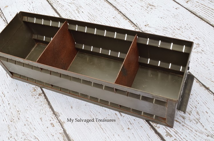 vintage metal filing drawer