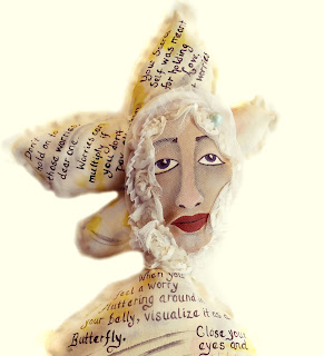 OOAK Painted Muslin Fairy Folk Art Doll with a Word Art Message