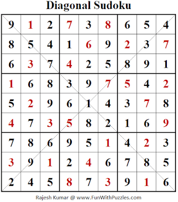 Answer of Diagonal Sudoku Puzzle (Fun With Sudoku #354)