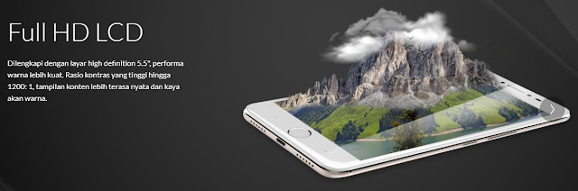 Advan G2 menggunakan layar 5.5 inch dengan resolusi full HD