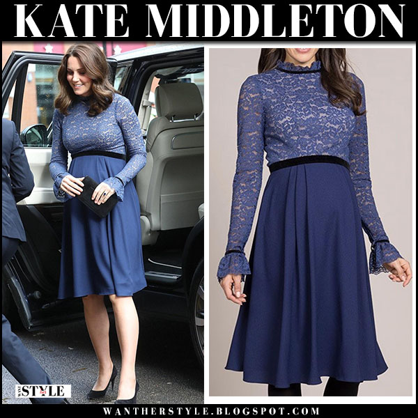 Kate Middleton in blue maternity dress seraphine royal family fashion march 7