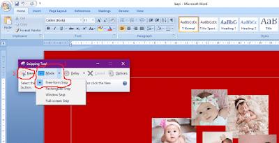 Gambar ilustrasi tampilan microsoft word dan program Snipping Tool