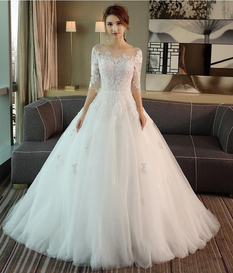 Amazon Wedding Dresses 2018 New One Shoulder Long Sleeved Lace