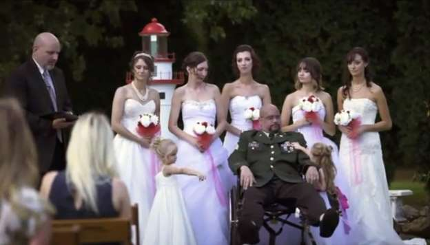 Father fulfils dying wish to walk all seven daughters down the aisle