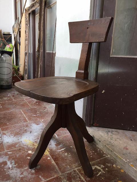 cadeira, rotativa, madeira, vintage, escritório, a Porta Verde
