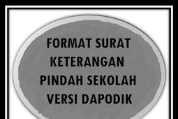 FORMAT SURAT KETERANGAN PINDAH SEKOLAH TERBARU TAHUN 2018/2019 VERSI DAPODIK