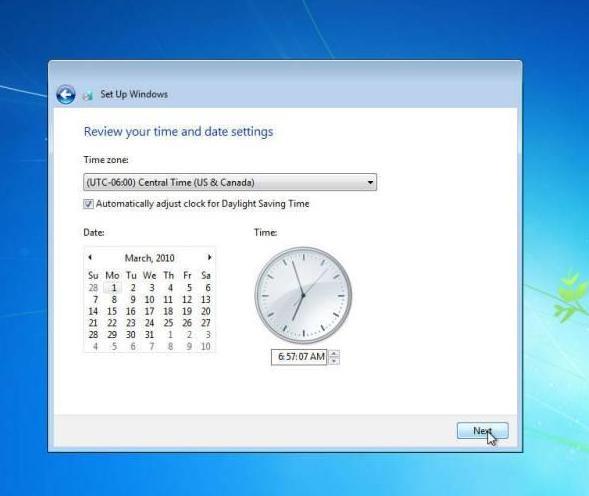 langkah 25: cara instal windows 7, pengaturan waktu