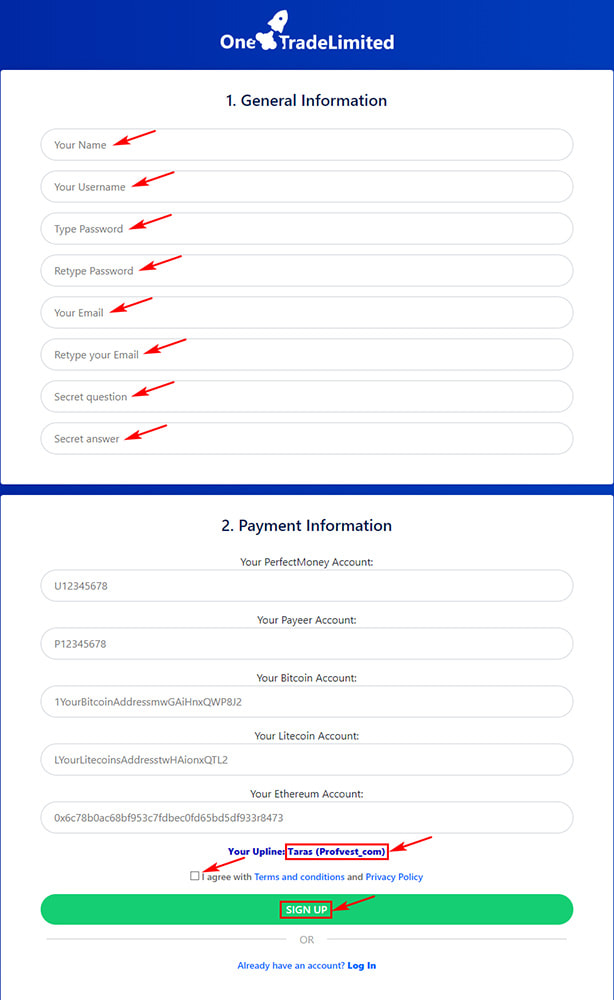 Регистрация в OneTradeLimited LTD 2