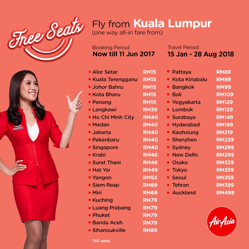 Airasia Free Seats Booking Until 11 June 2017 Travel 15