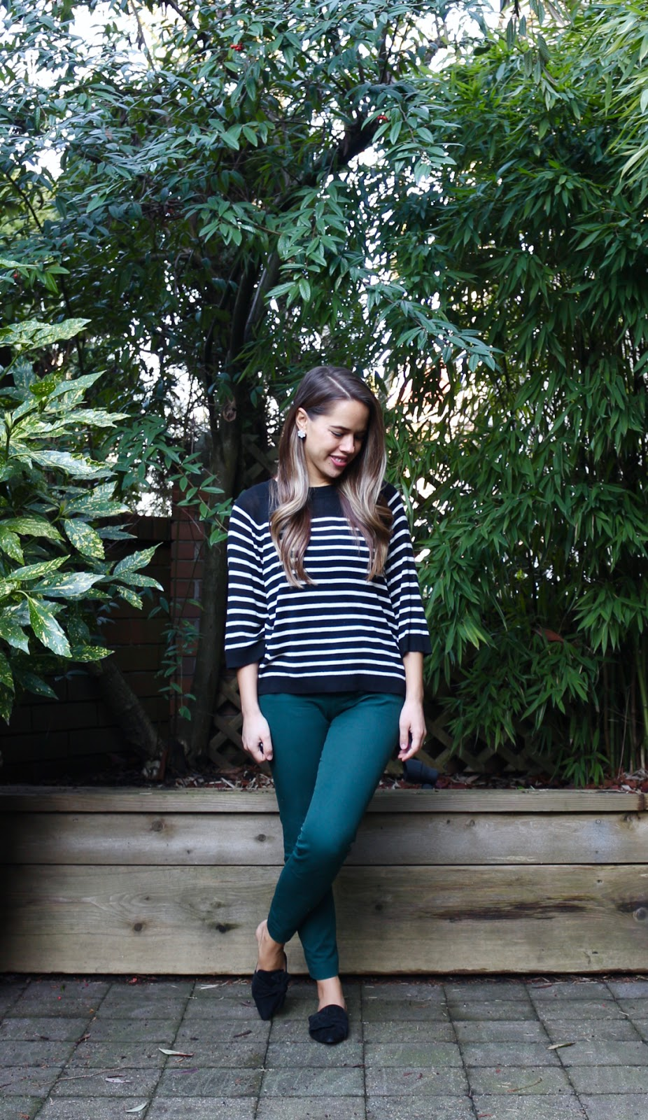 Jules in Flats - Boxy Striped Sweater with Green Ankle Pants (Business Casual Spring Workwear on a Budget)