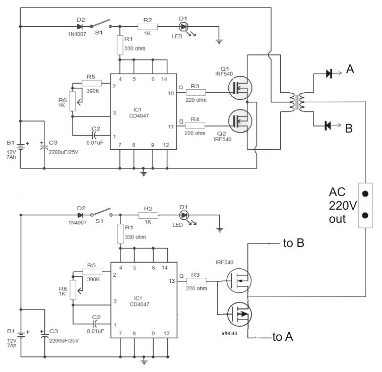 Schematic Diagram  100 Watt Compact Ferrite Inverter Circuit