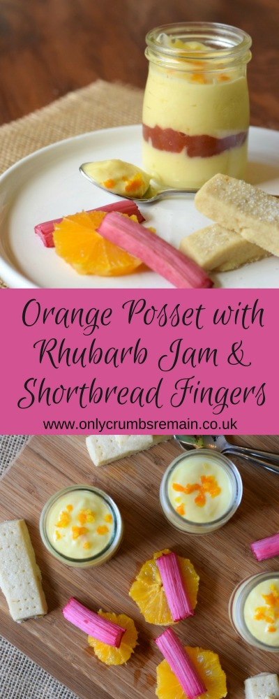Orange Posset with Rhubarb and Shortbread Fingers is the perfect easy dessert recipe when hosting a dinner party