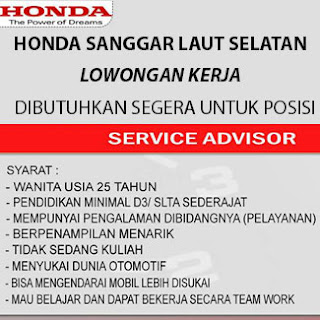 Lowongan Kerja di Honda Sanggar Laut Selatan 2