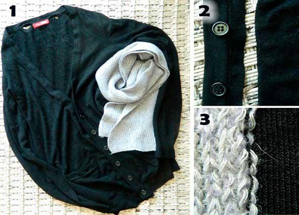 transformar chaquetas, bufandas para ampliar prendas