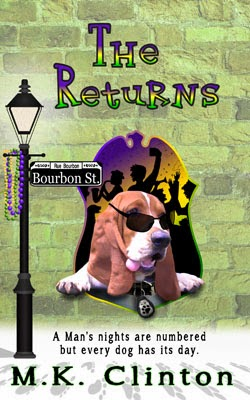 The Returns book cover with Basset Hound and FBI shield in New Orleans