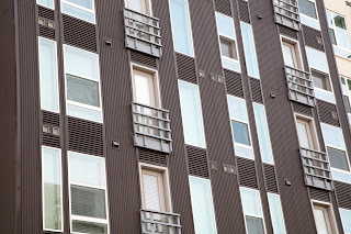 Windows on a brown building in The Domain, Austin, Texas, USA