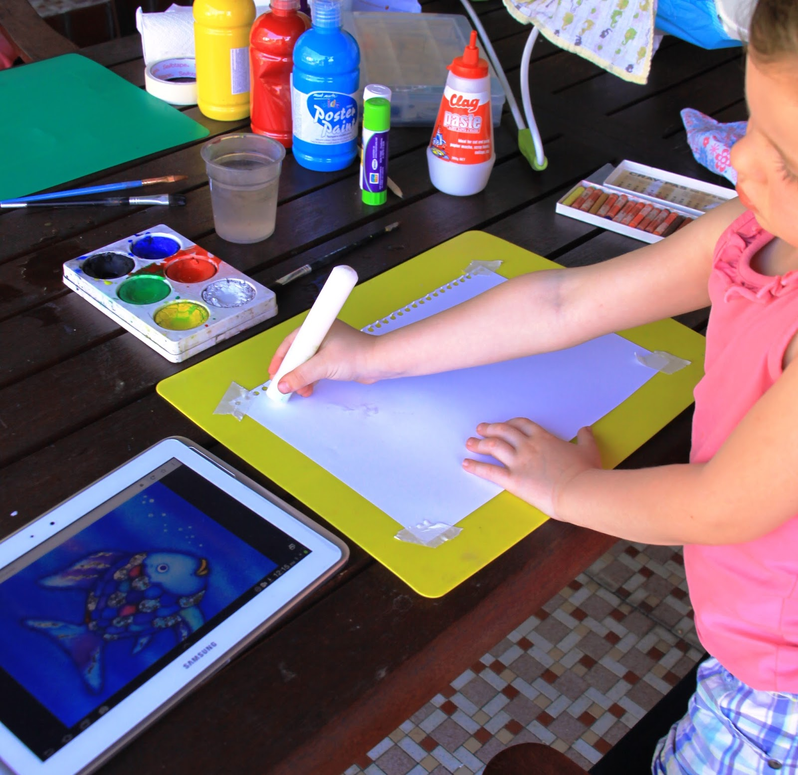 Arty Crafty Studio The Rainbow Fish Resist Painting