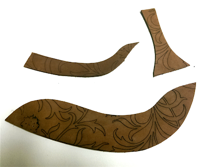 Image shows finished pieces ready for assembly as a tap shoe
