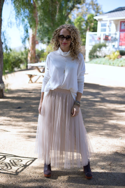 tulle skirt and sweater