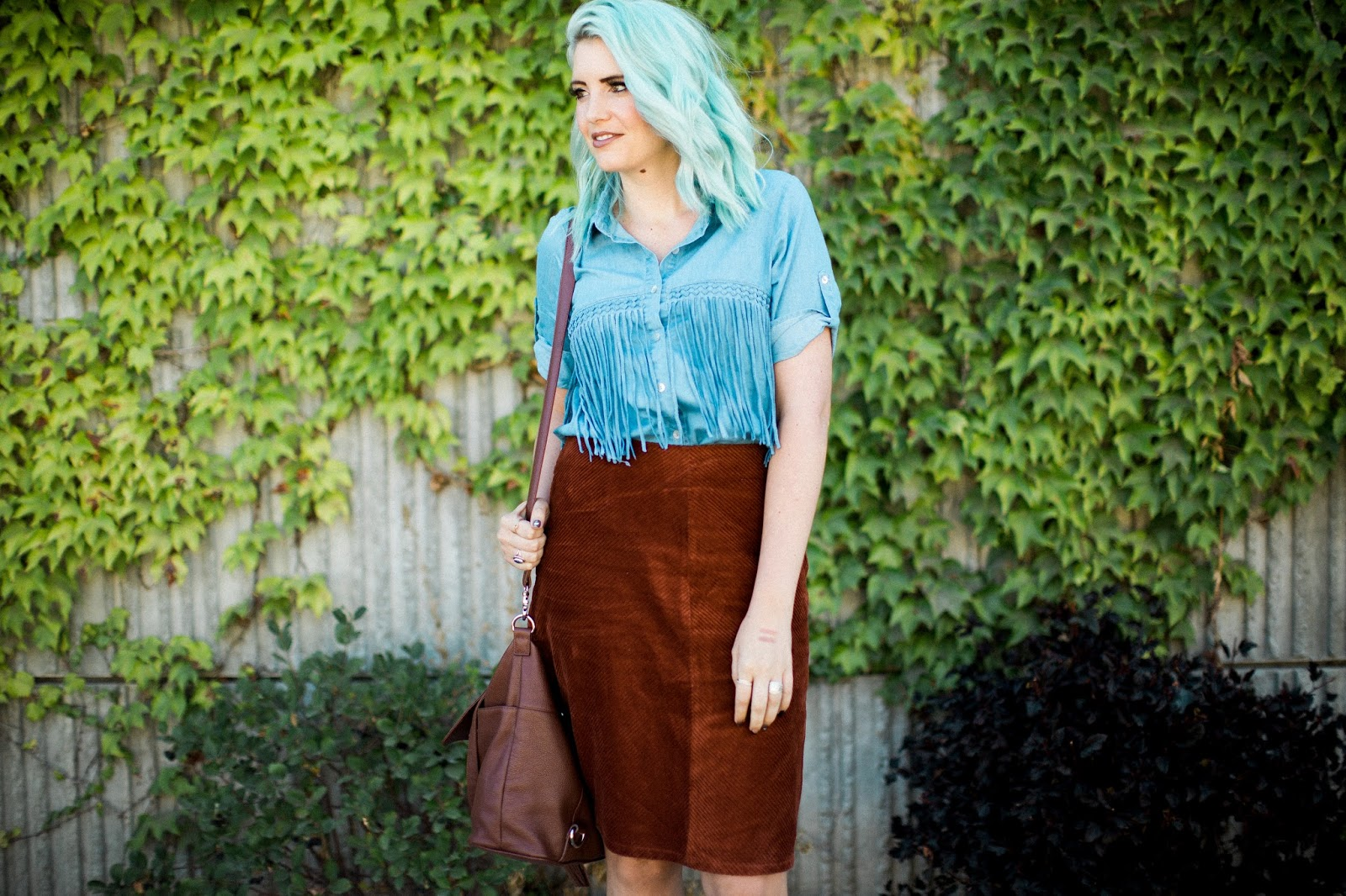 Fringe denim, fringe shirt, blue hair